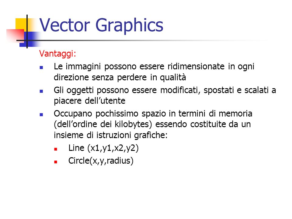 Vector Graphics Vantaggi: