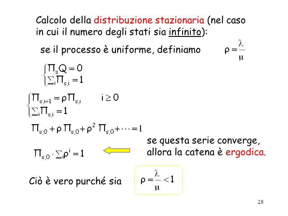 Calcolo della distribuzione stazionaria (nel caso in cui il numero degli stati sia infinito):