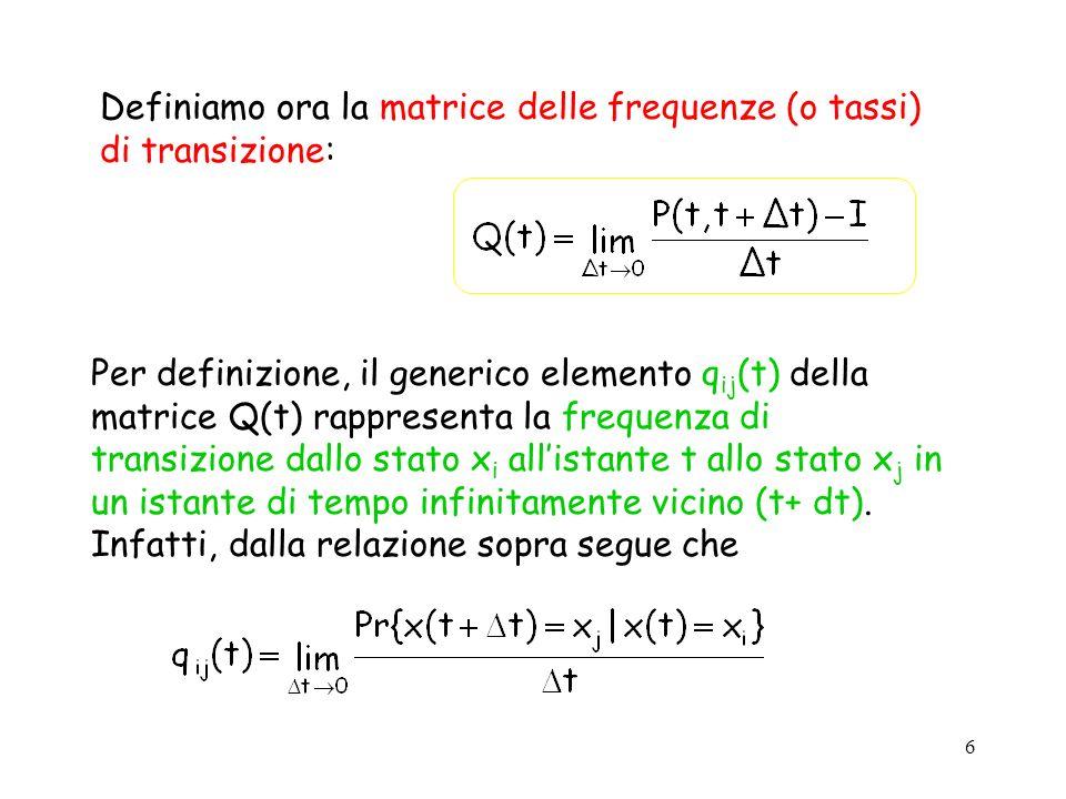 Definiamo ora la matrice delle frequenze (o tassi) di transizione: