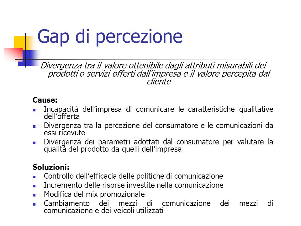 Gap di percezione