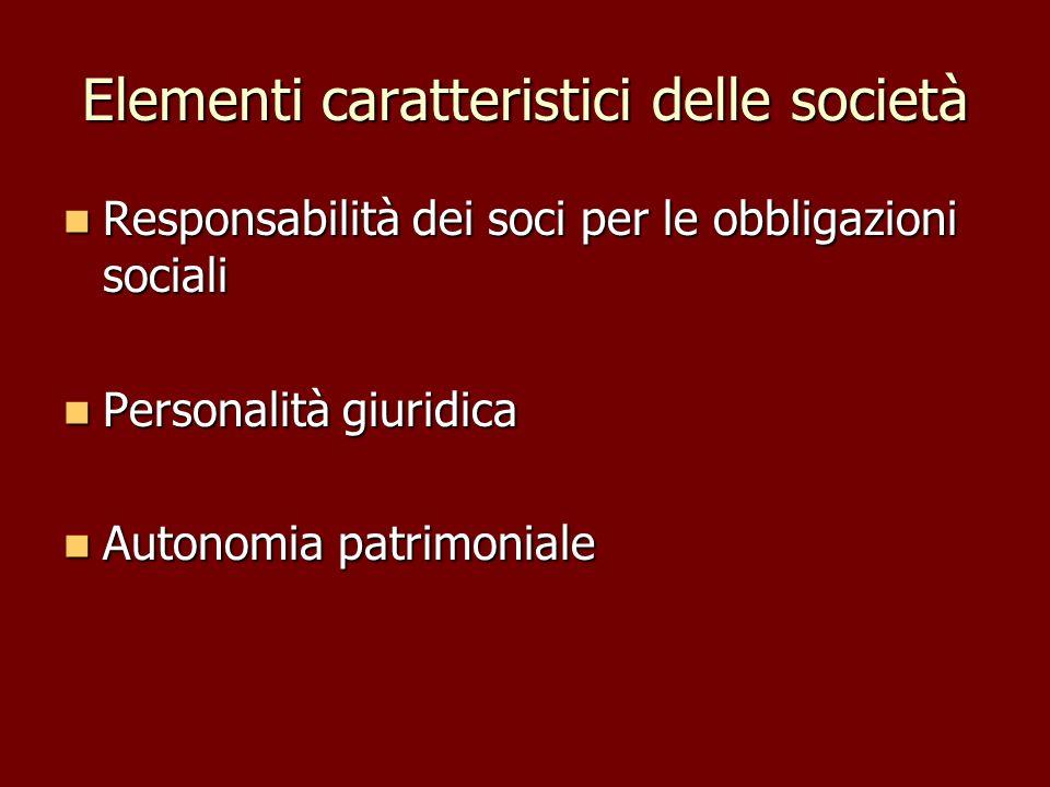 Elementi caratteristici delle società