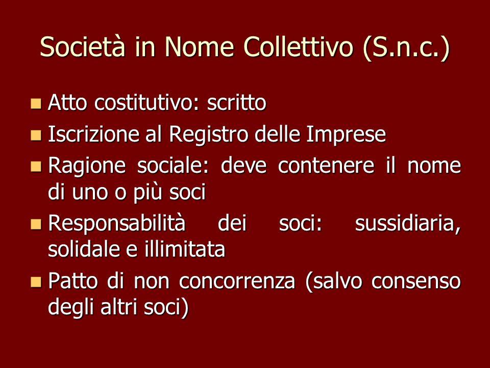 Società in Nome Collettivo (S.n.c.)