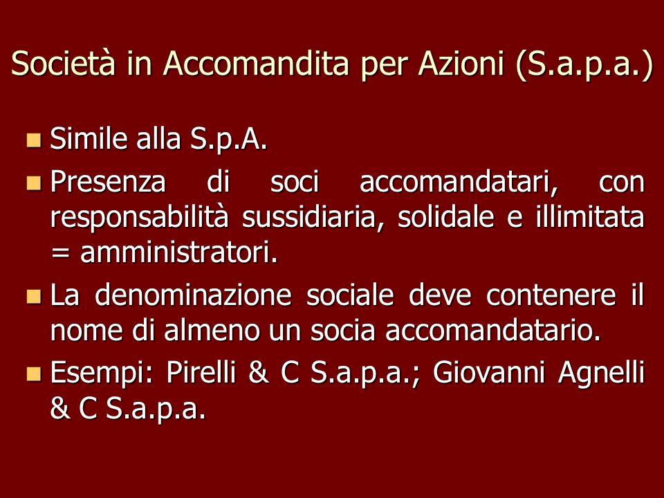 Società in Accomandita per Azioni (S.a.p.a.)