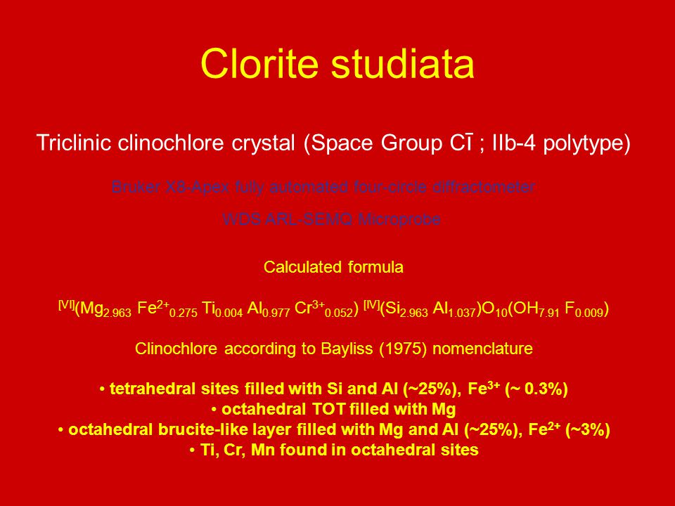 Clorite studiata Triclinic clinochlore crystal (Space Group Cī ; IIb-4 polytype) Bruker X8-Apex fully automated four-circle diffractometer.