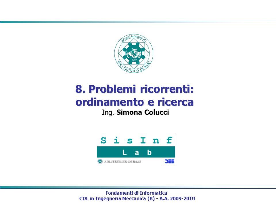 8. Problemi ricorrenti: ordinamento e ricerca Ing. Simona Colucci