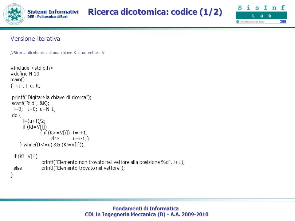 Ricerca dicotomica: codice (1/2)