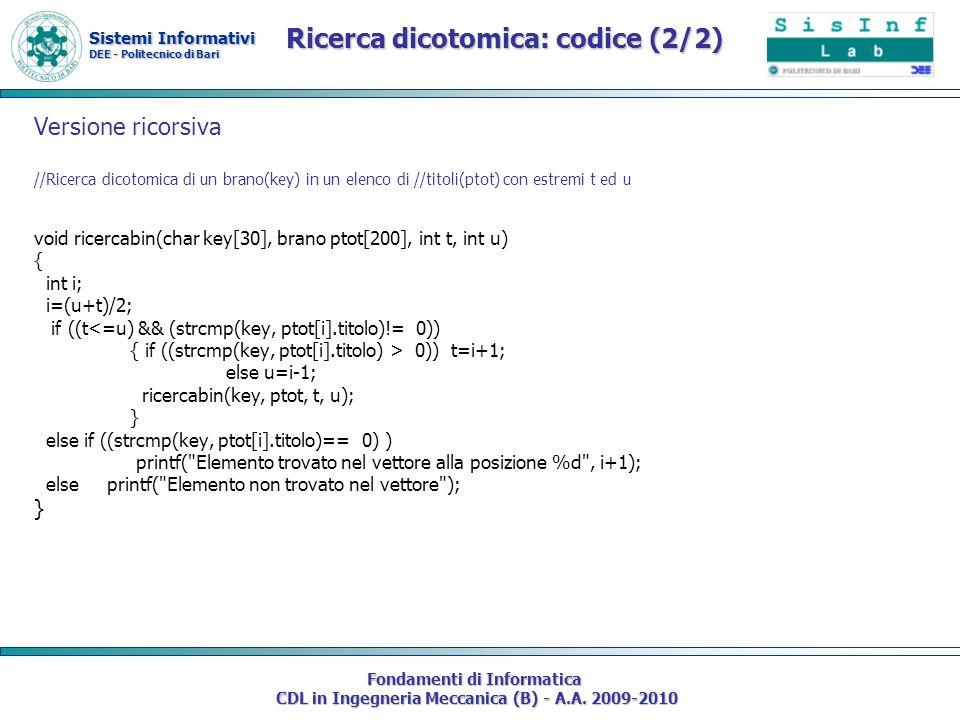 Ricerca dicotomica: codice (2/2)