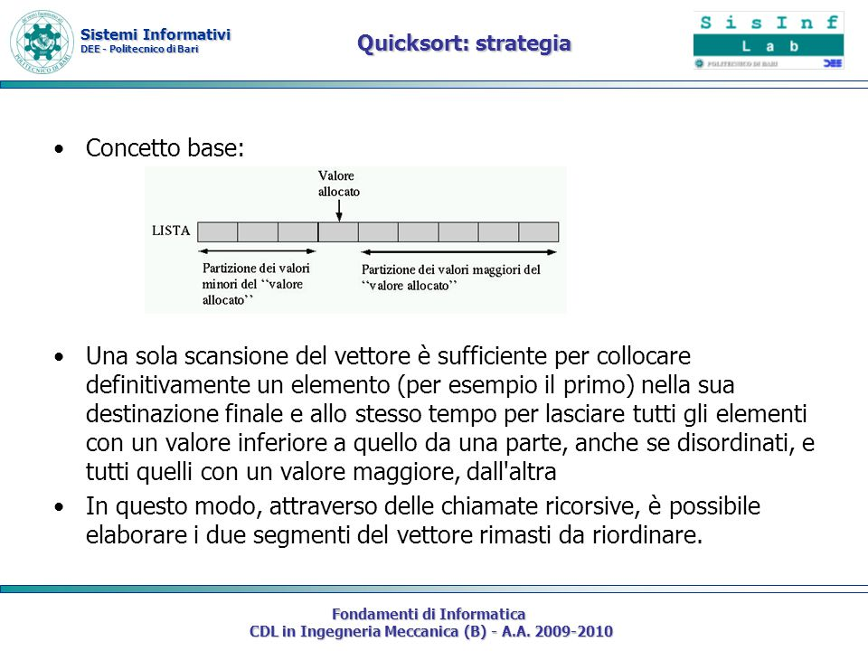 Quicksort: strategia Concetto base: