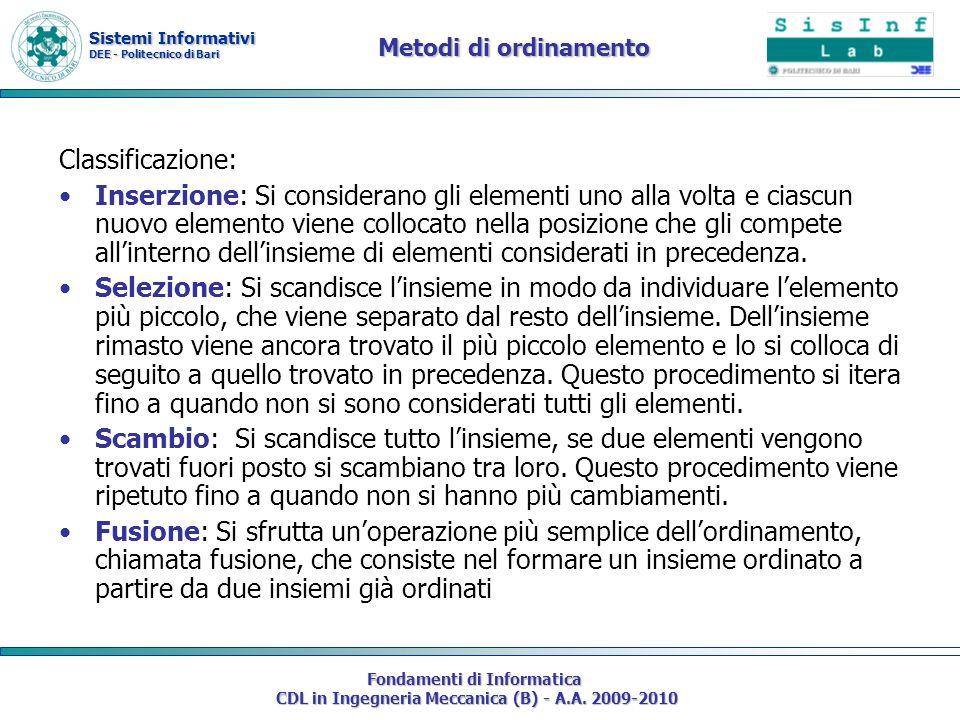 Metodi di ordinamento Classificazione: