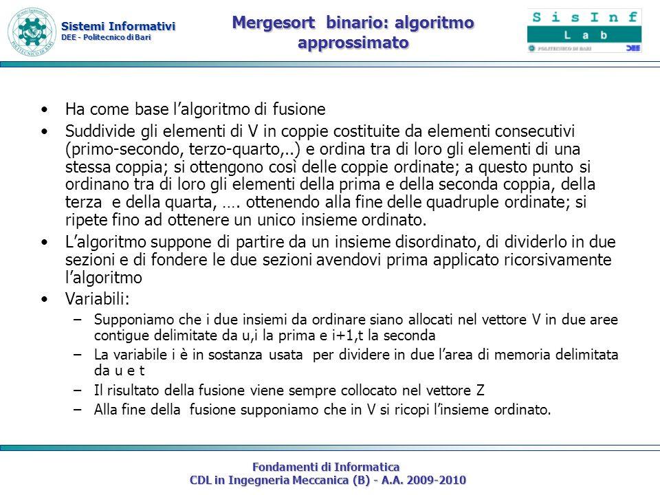 Mergesort binario: algoritmo approssimato