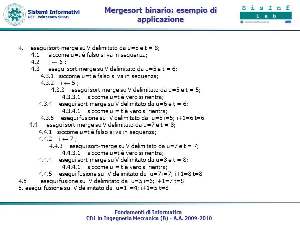 Mergesort binario: esempio di applicazione