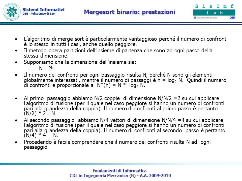 Mergesort binario: prestazioni