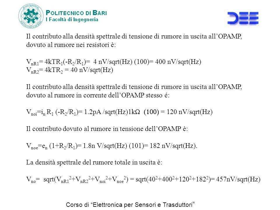 VnR1= 4kTR1(-R2/R1)= 4 nV/sqrt(Hz) (100)= 400 nV/sqrt(Hz)
