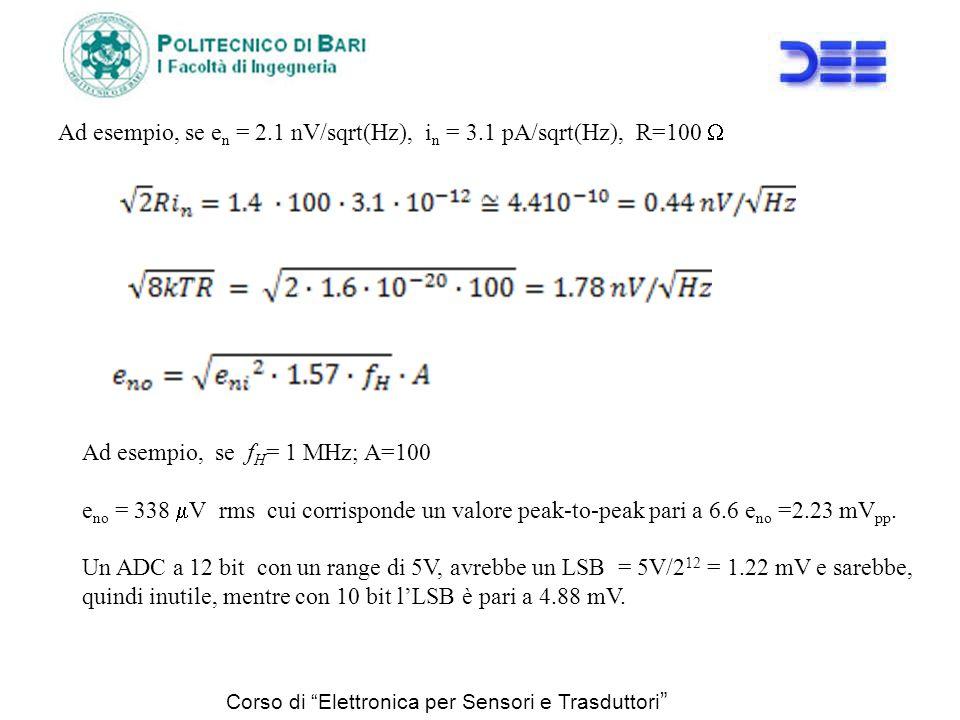 Ad esempio, se en = 2.1 nV/sqrt(Hz), in = 3.1 pA/sqrt(Hz), R=100 W