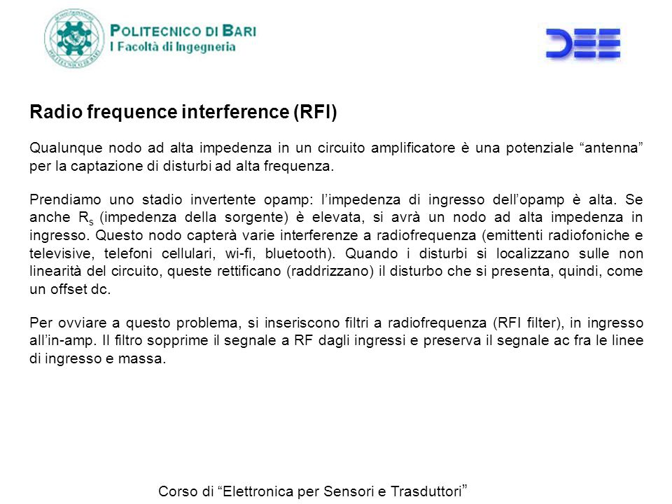 Radio frequence interference (RFI)