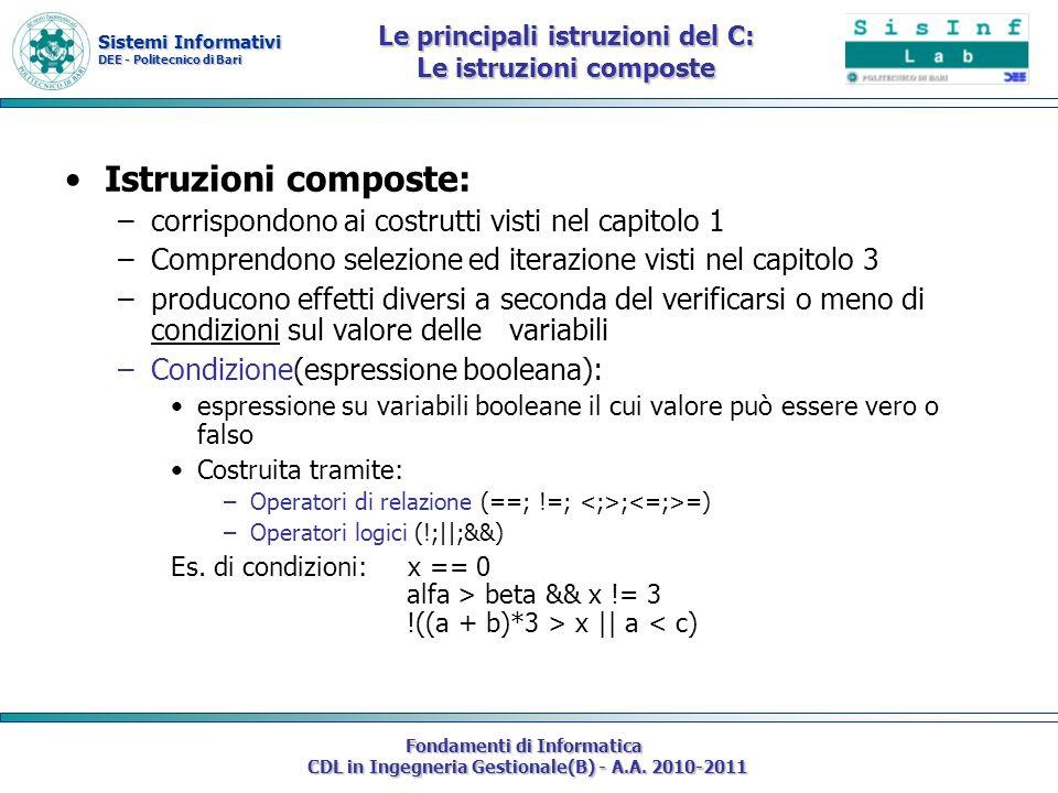 Le principali istruzioni del C: Le istruzioni composte