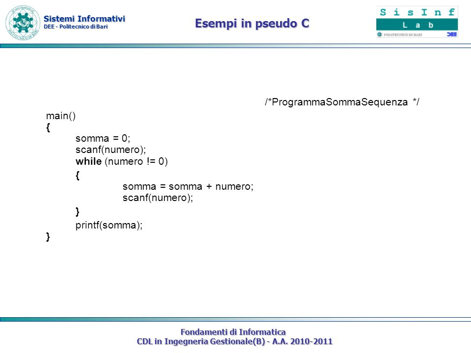 Esempi in pseudo C /*ProgrammaSommaSequenza */