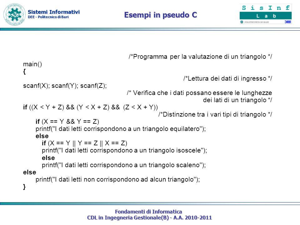 /*Programma per la valutazione di un triangolo */