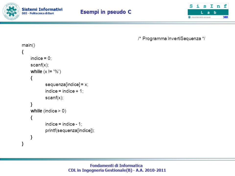 Esempi in pseudo C /* Programma InvertiSequenza */ main() {