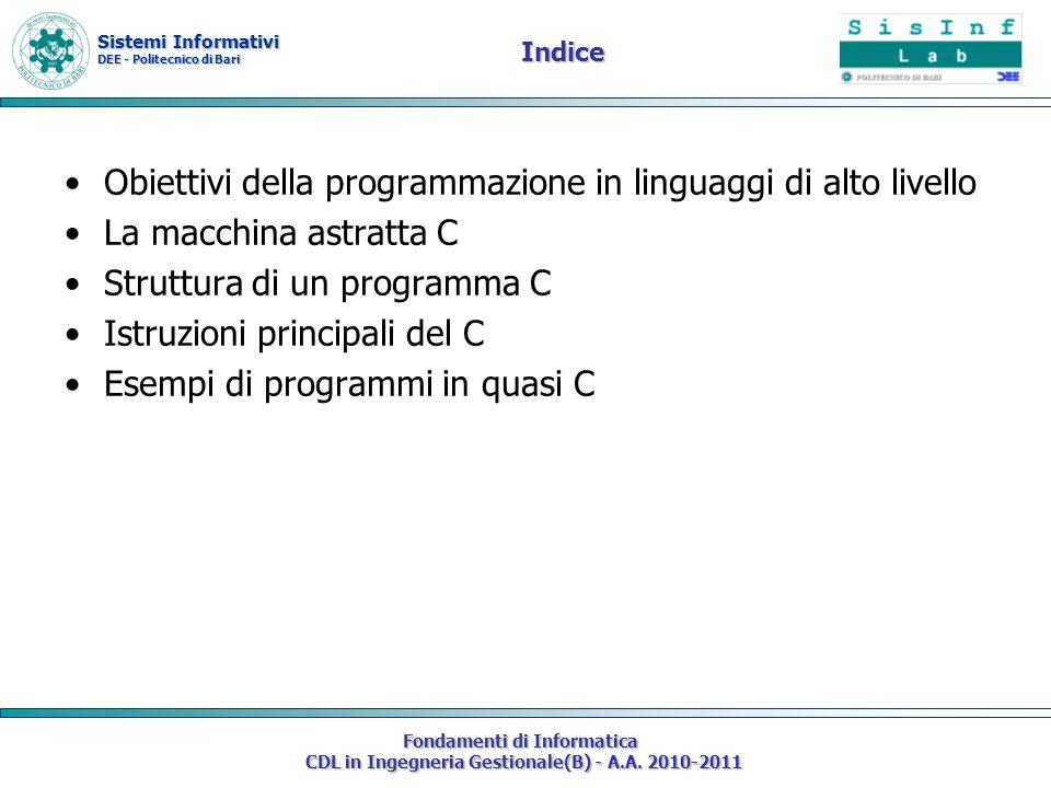 Obiettivi della programmazione in linguaggi di alto livello