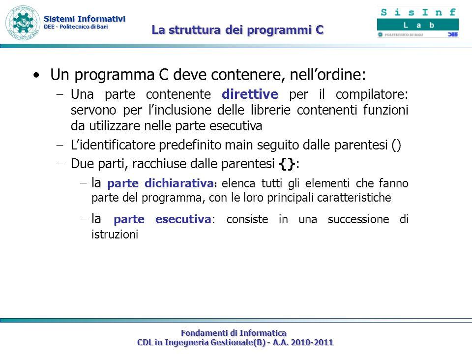 Un programma C deve contenere, nell'ordine: