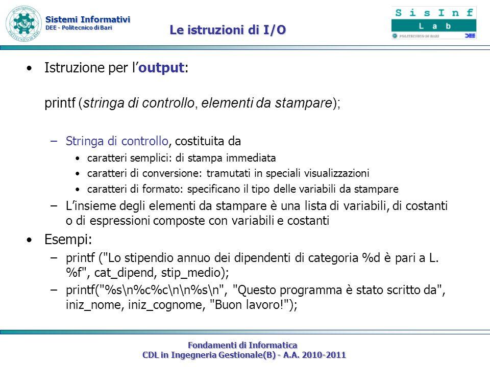 Istruzione per l'output:
