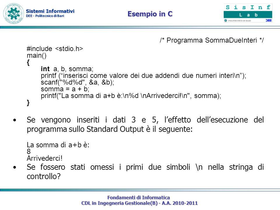 Esempio in C /* Programma SommaDueInteri */ #include <stdio.h> main() { int a, b, somma;