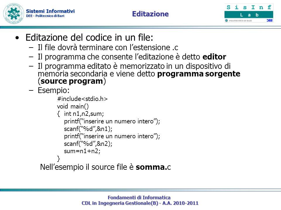 Editazione del codice in un file: