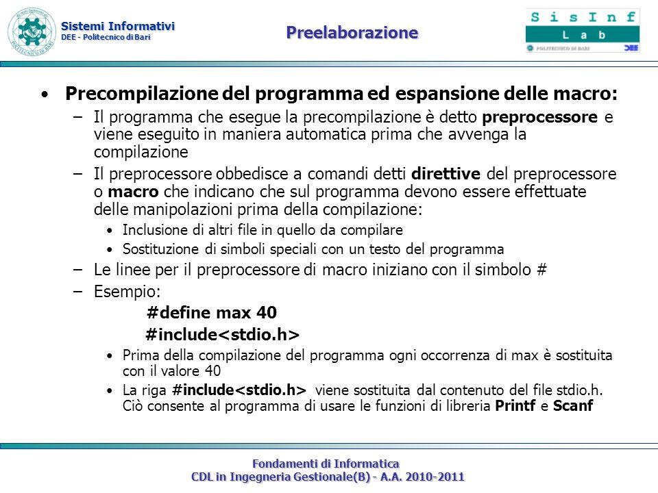 Precompilazione del programma ed espansione delle macro: