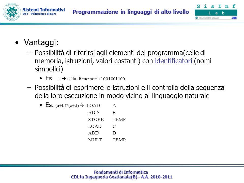 Programmazione in linguaggi di alto livello