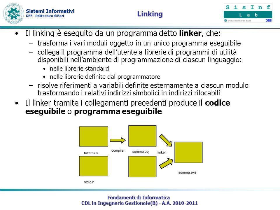 Il linking è eseguito da un programma detto linker, che: