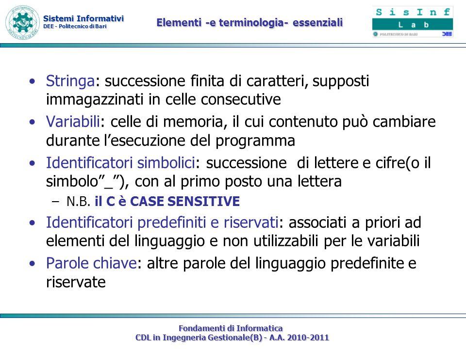 Elementi -e terminologia- essenziali