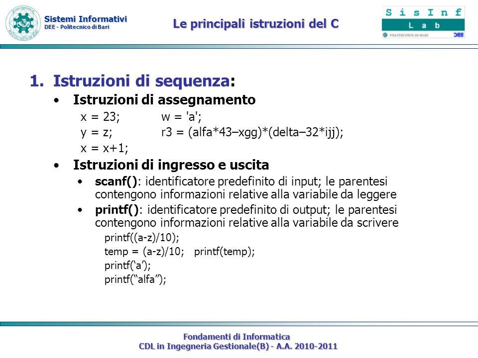 Le principali istruzioni del C
