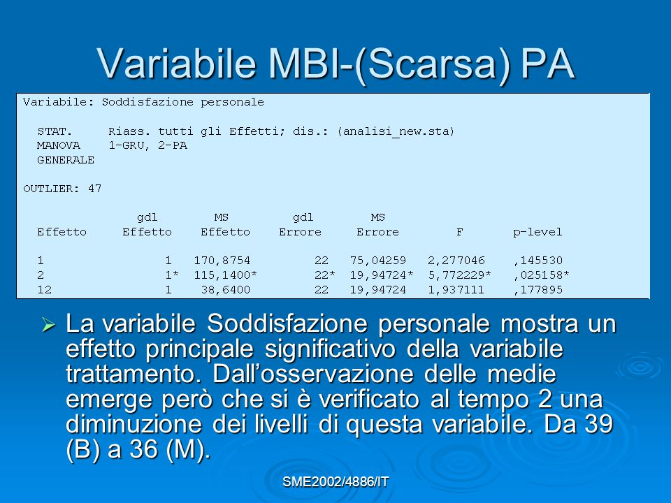 Variabile MBI-(Scarsa) PA