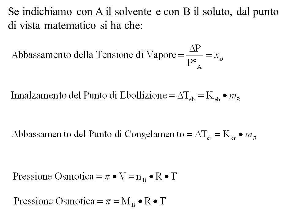 Se indichiamo con A il solvente e con B il soluto, dal punto di vista matematico si ha che: