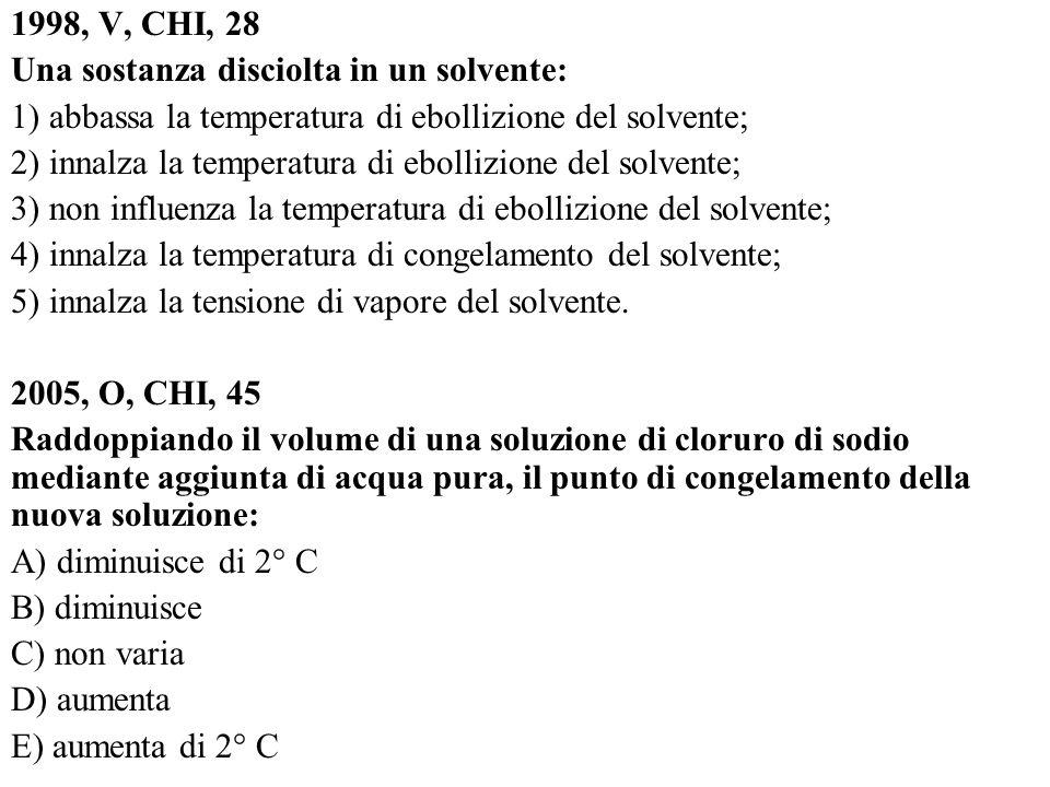 1998, V, CHI, 28 Una sostanza disciolta in un solvente: 1) abbassa la temperatura di ebollizione del solvente;