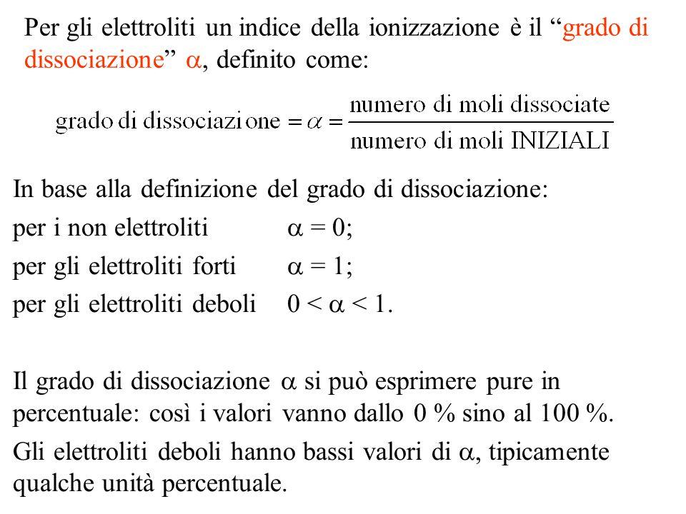 Per gli elettroliti un indice della ionizzazione è il grado di dissociazione a, definito come: