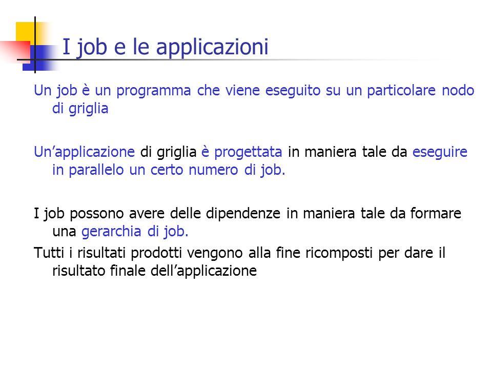 I job e le applicazioni Un job è un programma che viene eseguito su un particolare nodo di griglia.