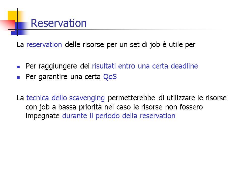 Reservation La reservation delle risorse per un set di job è utile per