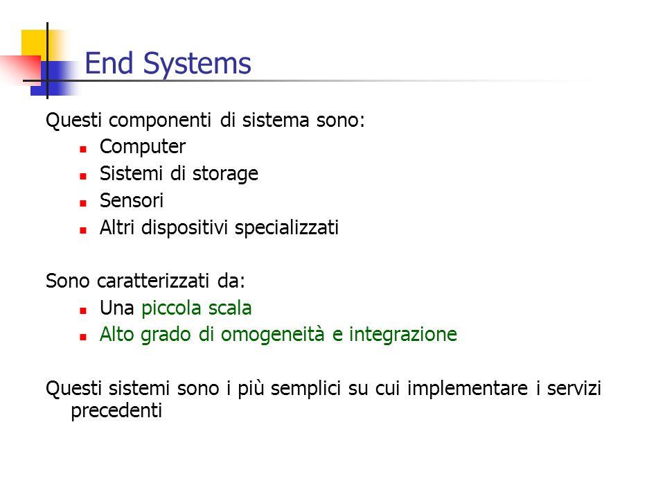 End Systems Questi componenti di sistema sono: Computer