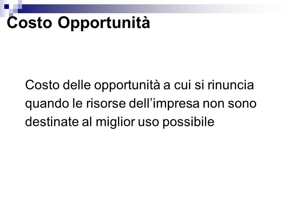 Costo Opportunità Costo delle opportunità a cui si rinuncia quando le risorse dell'impresa non sono destinate al miglior uso possibile.