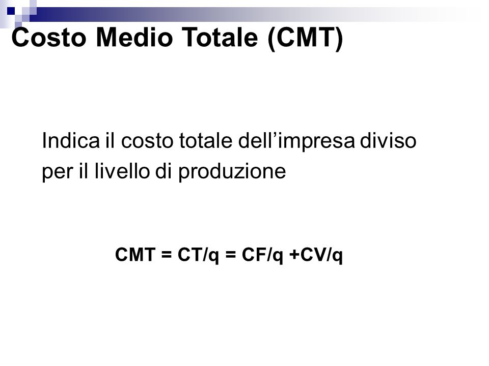 Costo Medio Totale (CMT)