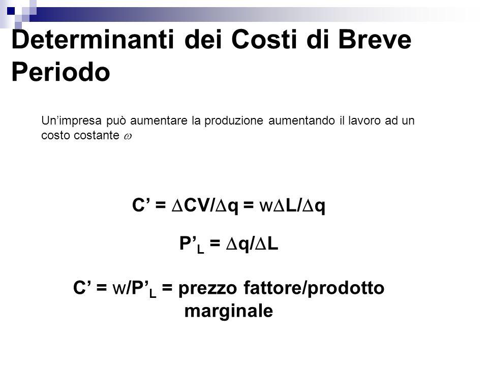C' = w/P'L = prezzo fattore/prodotto marginale