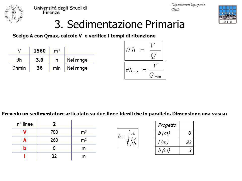 3. Sedimentazione Primaria