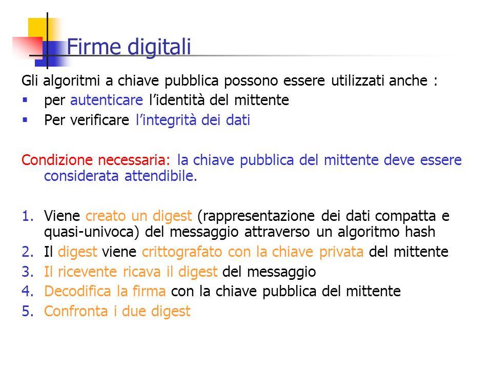 Firme digitali Gli algoritmi a chiave pubblica possono essere utilizzati anche : per autenticare l'identità del mittente.