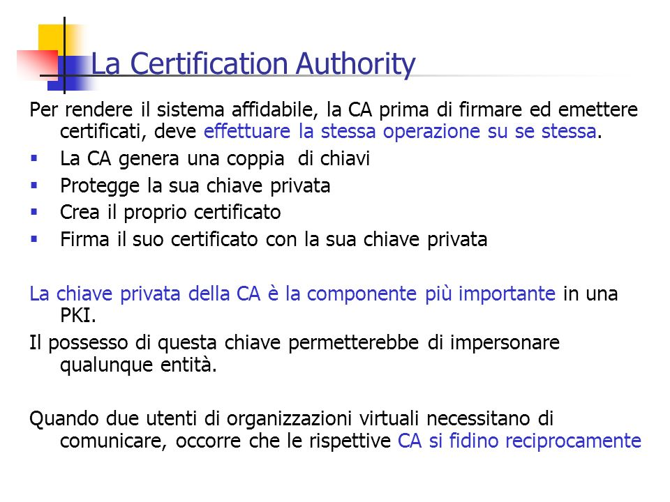 La Certification Authority