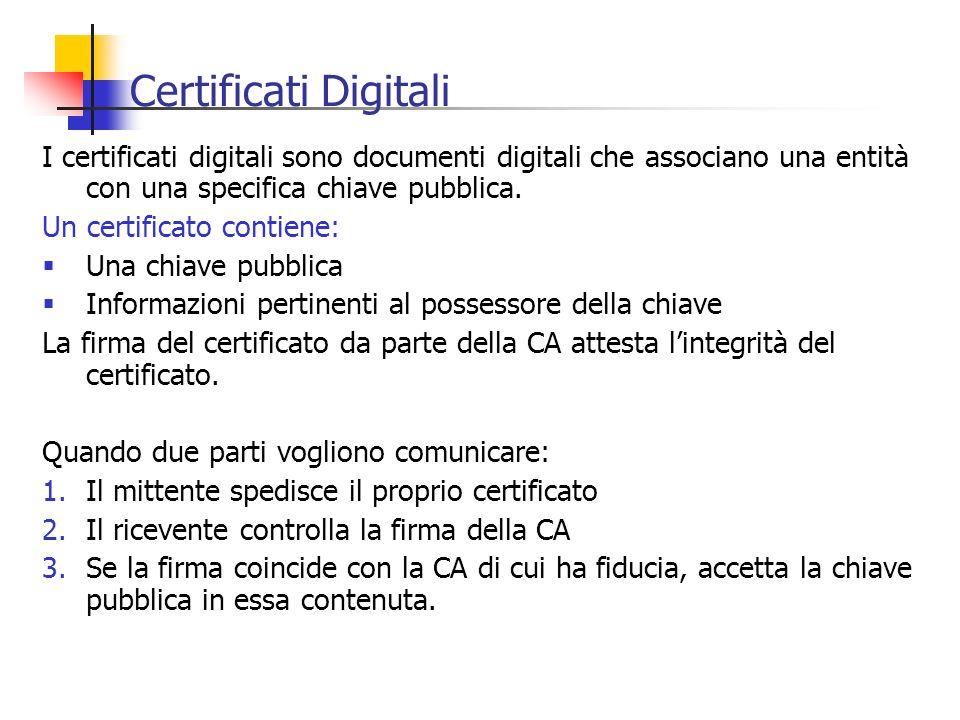 Certificati Digitali I certificati digitali sono documenti digitali che associano una entità con una specifica chiave pubblica.