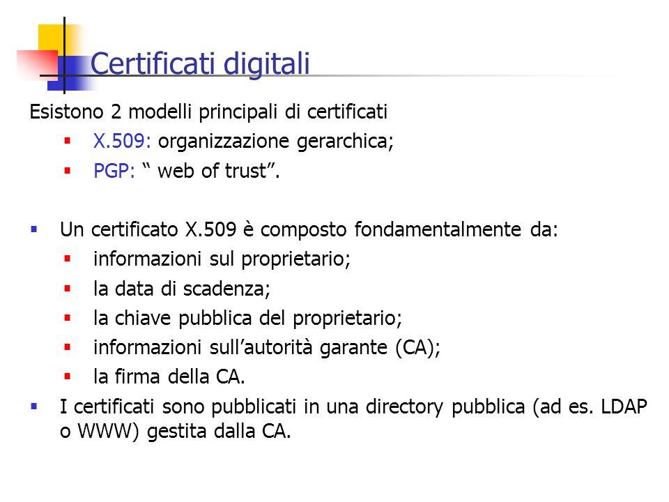 Certificati digitali Esistono 2 modelli principali di certificati