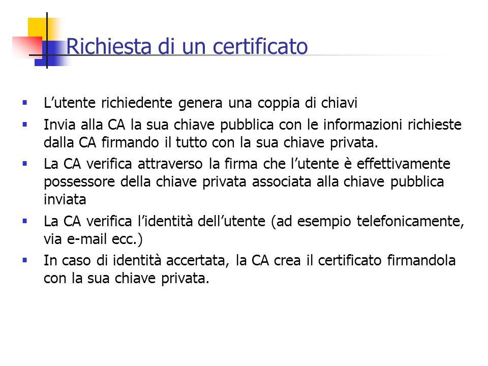 Richiesta di un certificato