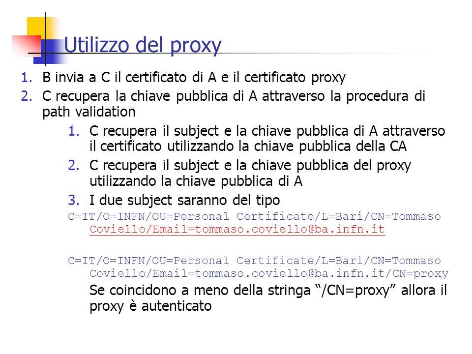 Utilizzo del proxy B invia a C il certificato di A e il certificato proxy.